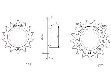 Halo Fat Foot Cog Fixed Steck-Ritzel 1/8""